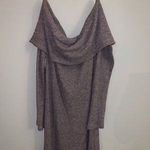Brown off the shoulder long sleeve dress